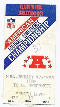 A ticket for the 1987–88 AFC Championship Game between the Browns and the Broncos.