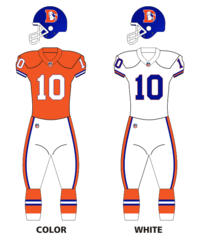 Denver Broncos uniform set from 1968 to 1996. The logo was designed by Edwin Guy Taylor of Denver. A contest was held through Public Service of Denver to come up with a new logo for the team. Mr. Taylor's submission was selected late in 1967 and adopted soon after. The team briefly wore orange pants with the away jerseys between 1969–1971 and 1978–1979.