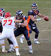 Tim Tebow playing against the Kansas City Chiefs in January 2012.