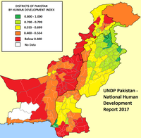 The HDI index of Pakistan, showing the major disparity in economic development in the country.