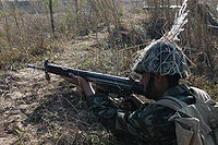 A soldier of Pakistan army in combat position.