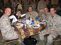 Senator Boxer has lunch with American Marines during her visit to Iraq. (2005-03-22)