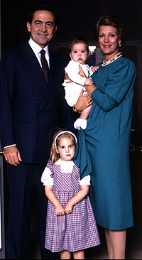 Constantine and his wife with their youngest children, Theodora and Philippos, by Allan Warren c.1986