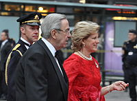 Constantine II and his wife arriving at the Wedding of Victoria, Crown Princess of Sweden, and Daniel Westling