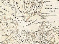 The harbor area of Hampton Roads, from official state map of pre-civil war Virginia circa 1858. image from the Library of Virginia