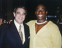 Domingo with American opera star and activist Stacey Robinson in 1994