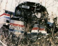 Wrecked Amtrak 255 in the 1996 Maryland train collision.