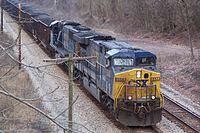 An AC6000CW leads a coal train through the New River Gorge in West Virginia.