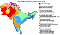 South Asia's Köppen climate classification map is based on native vegetation, temperature, precipitation and their seasonality.