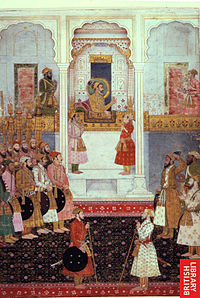 Emperor Shah Jahan and his son Prince Aurangzeb in Mughal Court, 1650