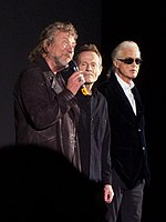 Led Zeppelin answering questions at the film premiere of Celebration Day at the Hammersmith Apollo in London, October 2012
