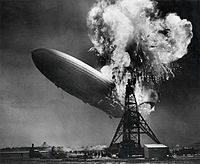 A 1937 photograph of the burning LZ 129 Hindenburg taken by news photographer Sam Shere, used on the cover of the band's debut album and extensively on later merchandise