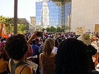 Protesters outside LAPD headquarters on August 17