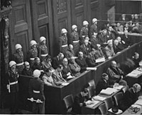 Defendants at the Nuremberg trials, where the Allied forces prosecuted prominent members of the political, military, judicial and economic leadership of Nazi Germany for crimes against humanity