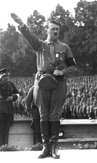 Adolf Hitler at a German National Socialist political rally in Nuremberg, August 1933