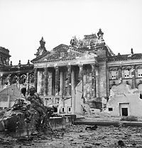 The German Reichstag after its capture by the Allied forces, 3 June 1945.