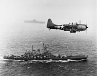 U.S. Navy SBD-5 scout plane flying patrol over and during the Gilbert and Marshall Islands campaign, 1943