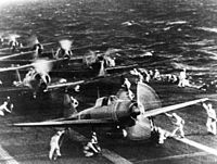 """Mitsubishi A6M2 """"Zero"""" fighters on the Imperial Japanese Navy aircraft carrier, just before the attack on Pearl Harbor"""