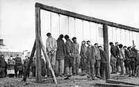 Soviet partisans hanged by the German army. The Russian Academy of Sciences reported in 1995 civilian victims in the Soviet Union at German hands totalled 13.7 million dead, twenty percent of the 68 million persons in the occupied Soviet Union.