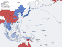 Map of Japanese military advances through mid-1942