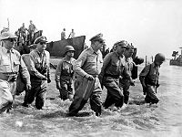 General Douglas MacArthur returns to the Philippines during the Battle of Leyte, 20 October 1944