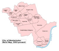 A map showing the wards of Westminster since 2002