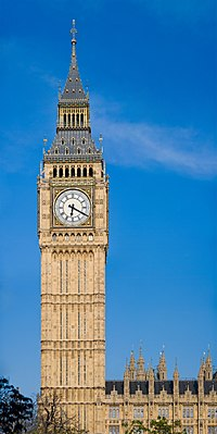 Big Ben is the nickname for the Great Bell of the clock at the north end of the Palace of Westminster and is usually referred to both the clock and the clock tower (Elizabeth Tower)