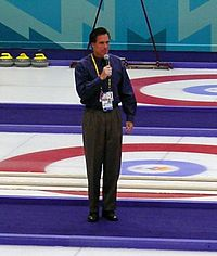 Romney, as president and CEO of the Salt Lake Organizing Committee for the 2002 Winter Olympics, speaking before a curling match