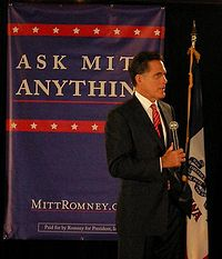 """Holding an """"Ask Mitt Anything"""" session in Ames, Iowa, in May 2007"""