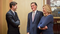 Mitt and Ann Romney share a moment with his former running mate, Paul Ryan, as they witness the election and ascension of Ryan as the 54th Speaker of the House of Representatives on October 29, 2015