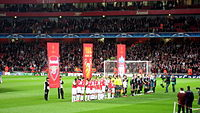 Liverpool lining up at Arsenal in the quarter-finals of the 2007–08 UEFA Champions League