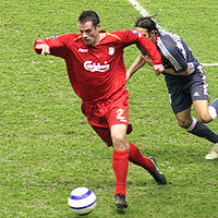 Jamie Carragher's 150 European appearances–including the pictured 2006 clash with Benfica–is a club record.
