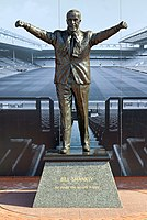 Statue of Bill Shankly outside Anfield. Shankly was the first Liverpool manager to win a European trophy.