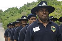 Nauruan police cadets undergoing training. Nauru has no armed forces, though there is a small police force under civilian control.