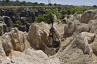 Limestone pinnacles remain after phosphate mining at the site of one of Nauru's secondary mines