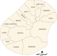 Map of Nauru showing its districts