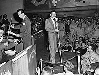 Sinatra performing with Harry James at the Hollywood Canteen, 1943