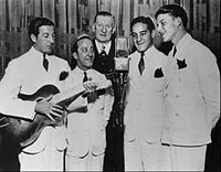 Sinatra (far right) with the Hoboken Four on Major Bowes' Amateur Hour in 1935