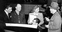 Sinatra (left) on the Armed Forces Radio in 1944 with Dinah Shore and Bing Crosby (right)