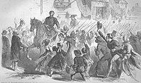 McClellan riding through Frederick, Maryland, September 12, 1862 (From Frank Leslie's Illustrated Newspaper)