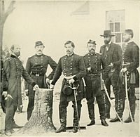 General George B. McClellan with staff & dignitaries (from left to right): Gen. George W. Morell, Lt. Col. A.V. Colburn, Gen. McClellan, Lt. Col. N.B. Sweitzer, Prince de Joinville (son of King Louis Phillippe of France), and on the very right—the prince's nephew, Count de Paris