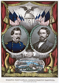 Currier and Ives print of the McClellan–Pendleton Democratic presidential party ticket, 1864. Lithograph with watercolor.