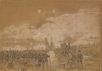 Federal troops under heavy attack at the Battle of Gaines's Mill, sketched by Alfred R. Waud and published in Harper's Weekly, July 26, 1862