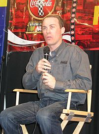 Kevin Harvick (pictured in 2006) passed Jamie McMurray on the final lap after receiving assistance from Denny Hamlin to win the race.