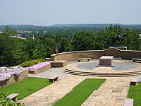 The Will Rogers Memorial overlooks Claremore's position in the foothills of the Ozark Mountains.