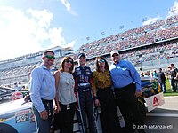Hendrick (right) with his wife Linda (second from right), Kelley Earnhardt Miller and L. W. Miller, and William Byron at Daytona in February 2017