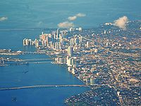 An aerial view of Downtown Miami