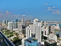 The urban neighborhood of Brickell in Downtown Miami contains the largest concentration of international banks in the U.S.