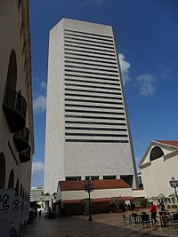 The Stephen P. Clark Government Center in Downtown Miami is the headquarters of the Miami-Dade County government.