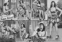 Bettie Page portrays stereotypes about women drivers in 1952.